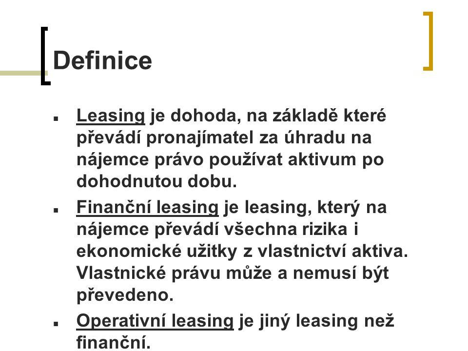 Definice Leasing je dohoda, na základě které převádí pronajímatel za úhradu na nájemce právo používat aktivum po dohodnutou dobu.