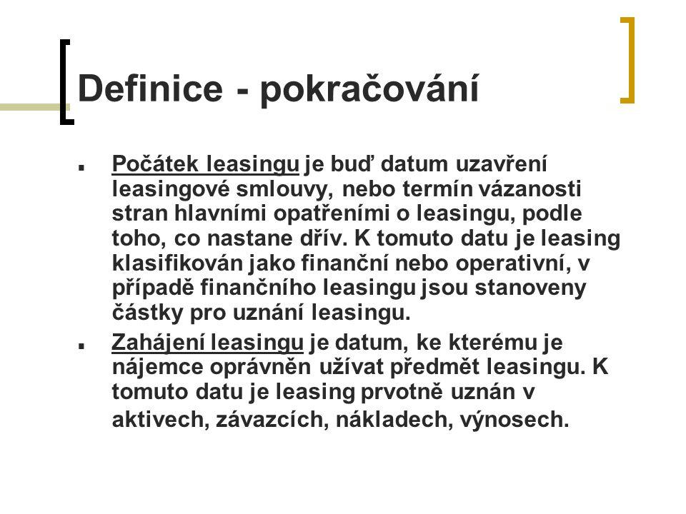 Účtování finančního leasingu - pronajímatel Aktivum uznáno jako pohledávka v částce čisté investice do leasingu.
