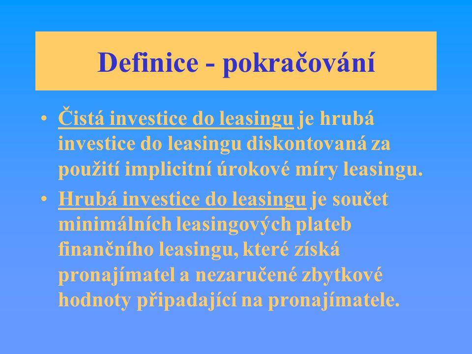 Definice - pokračování Čistá investice do leasingu je hrubá investice do leasingu diskontovaná za použití implicitní úrokové míry leasingu.