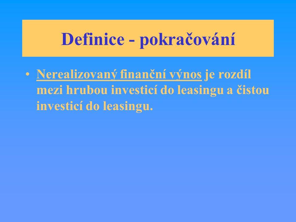 Definice - pokračování Nerealizovaný finanční výnos je rozdíl mezi hrubou investicí do leasingu a čistou investicí do leasingu.