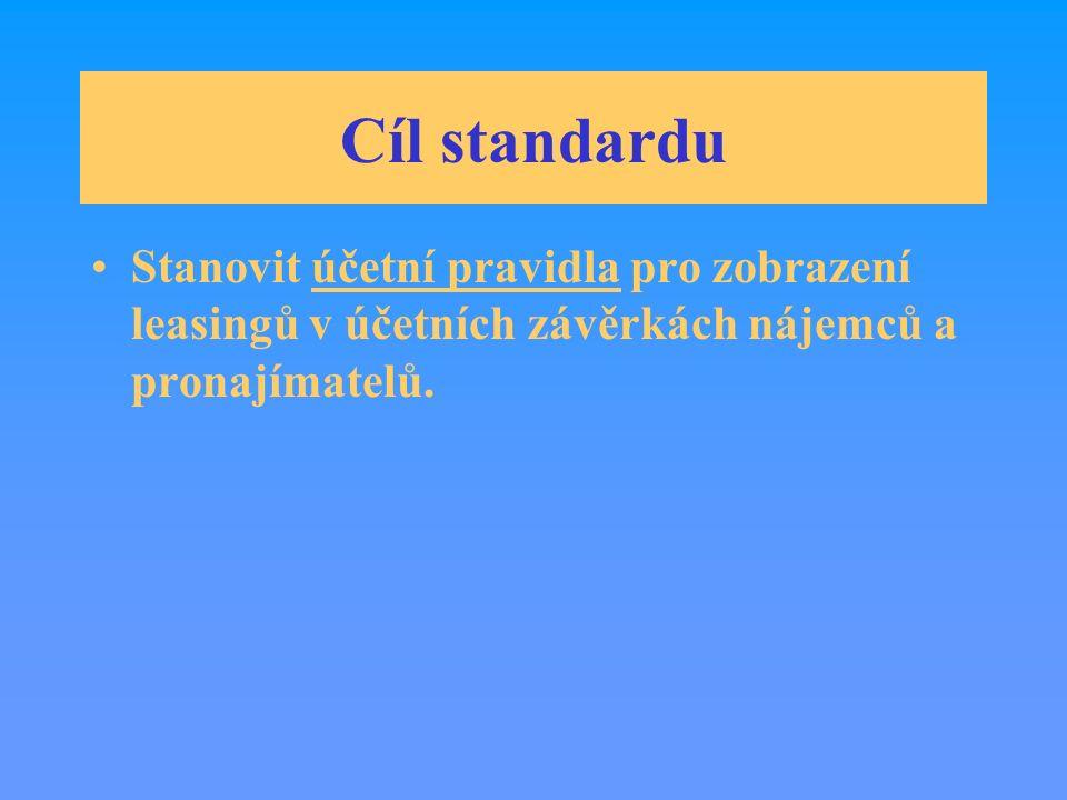 Cíl standardu Stanovit účetní pravidla pro zobrazení leasingů v účetních závěrkách nájemců a pronajímatelů.