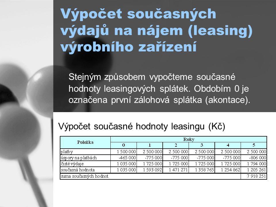 Výpočet současných výdajů na nájem (leasing) výrobního zařízení Stejným způsobem vypočteme současné hodnoty leasingových splátek.