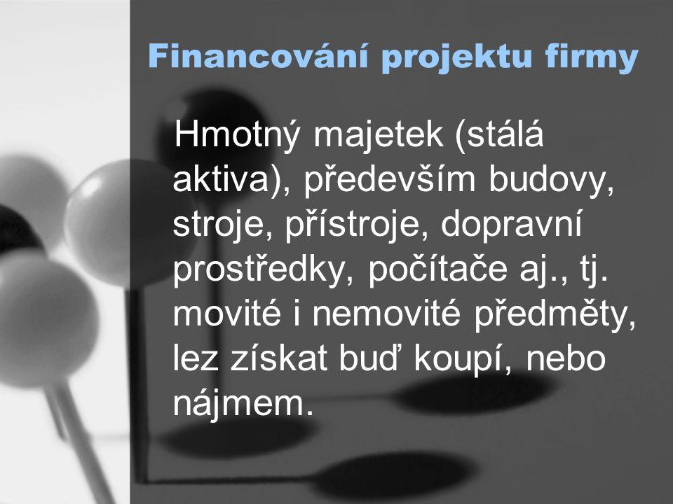 Financování projektu firmy Hmotný majetek (stálá aktiva), především budovy, stroje, přístroje, dopravní prostředky, počítače aj., tj.