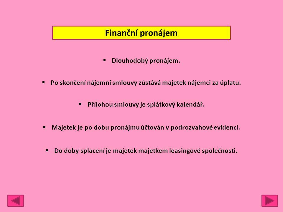 Finanční pronájem  Dlouhodobý pronájem.  Po skončení nájemní smlouvy zůstává majetek nájemci za úplatu.  Přílohou smlouvy je splátkový kalendář. 