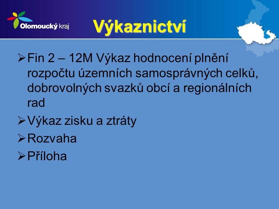 Výkaznictví  Fin 2 – 12M Výkaz hodnocení plnění rozpočtu územních samosprávných celků, dobrovolných svazků obcí a regionálních rad  Výkaz zisku a ztráty  Rozvaha  Příloha