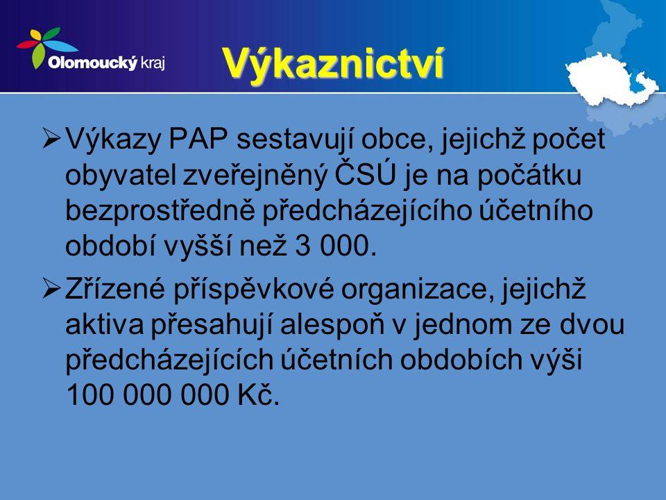 Výkaznictví  Výkazy PAP sestavují obce, jejichž počet obyvatel zveřejněný ČSÚ je na počátku bezprostředně předcházejícího účetního období vyšší než 3 000.