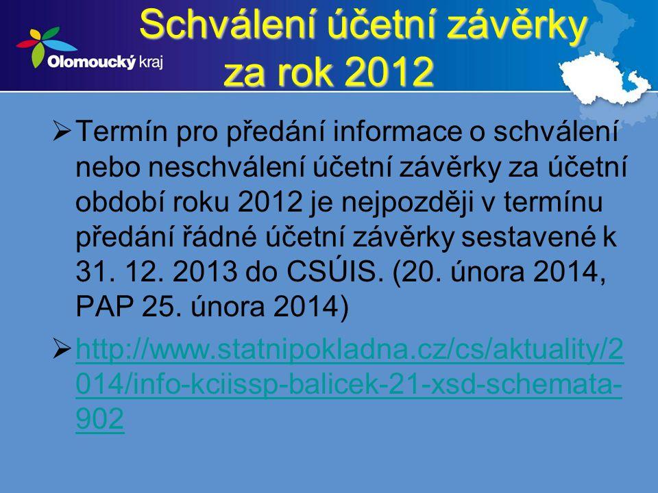 Schválení účetní závěrky za rok 2012 Schválení účetní závěrky za rok 2012  Termín pro předání informace o schválení nebo neschválení účetní závěrky za účetní období roku 2012 je nejpozději v termínu předání řádné účetní závěrky sestavené k 31.