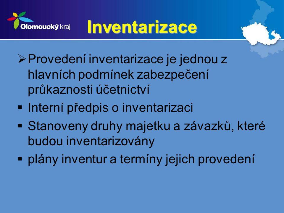 Inventarizace  Provedení inventarizace je jednou z hlavních podmínek zabezpečení průkaznosti účetnictví  Interní předpis o inventarizaci  Stanoveny druhy majetku a závazků, které budou inventarizovány  plány inventur a termíny jejich provedení