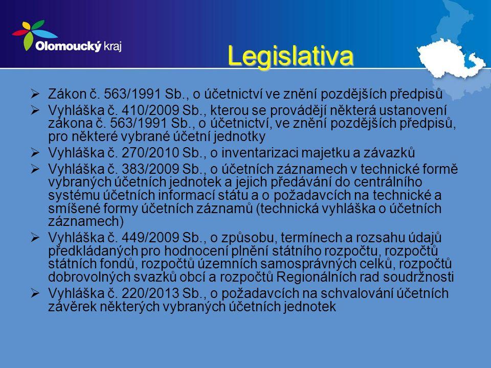 Legislativa  Zákon č. 563/1991 Sb., o účetnictví ve znění pozdějších předpisů  Vyhláška č.