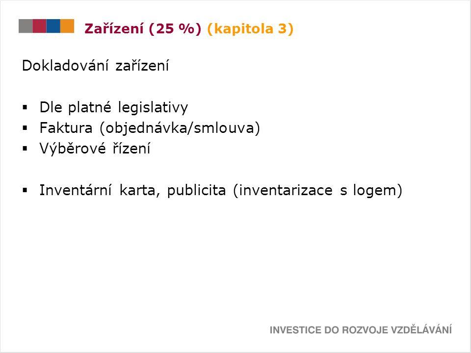 Zařízení (25 %) (kapitola 3) Dokladování zařízení  Dle platné legislativy  Faktura (objednávka/smlouva)  Výběrové řízení  Inventární karta, publicita (inventarizace s logem)