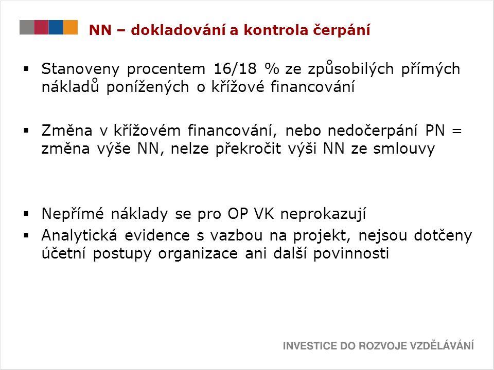 NN – dokladování a kontrola čerpání  Stanoveny procentem 16/18 % ze způsobilých přímých nákladů ponížených o křížové financování  Změna v křížovém financování, nebo nedočerpání PN = změna výše NN, nelze překročit výši NN ze smlouvy  Nepřímé náklady se pro OP VK neprokazují  Analytická evidence s vazbou na projekt, nejsou dotčeny účetní postupy organizace ani další povinnosti