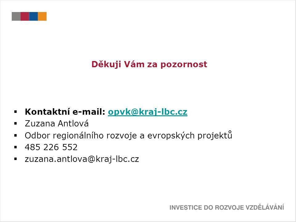 Děkuji Vám za pozornost  Kontaktní e-mail: opvk@kraj-lbc.czopvk@kraj-lbc.cz  Zuzana Antlová  Odbor regionálního rozvoje a evropských projektů  485 226 552  zuzana.antlova@kraj-lbc.cz
