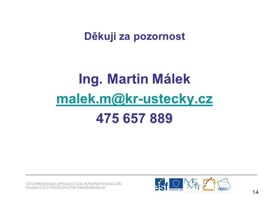 14 Ing. Martin Málek malek.m@kr-ustecky.cz@kr-ustecky.cz 475 657 889 Děkuji za pozornost TATO PREZENTACE JE FINANCOVÁNA EVROPSKÝM SOCIÁLNÍM FONDEM A S