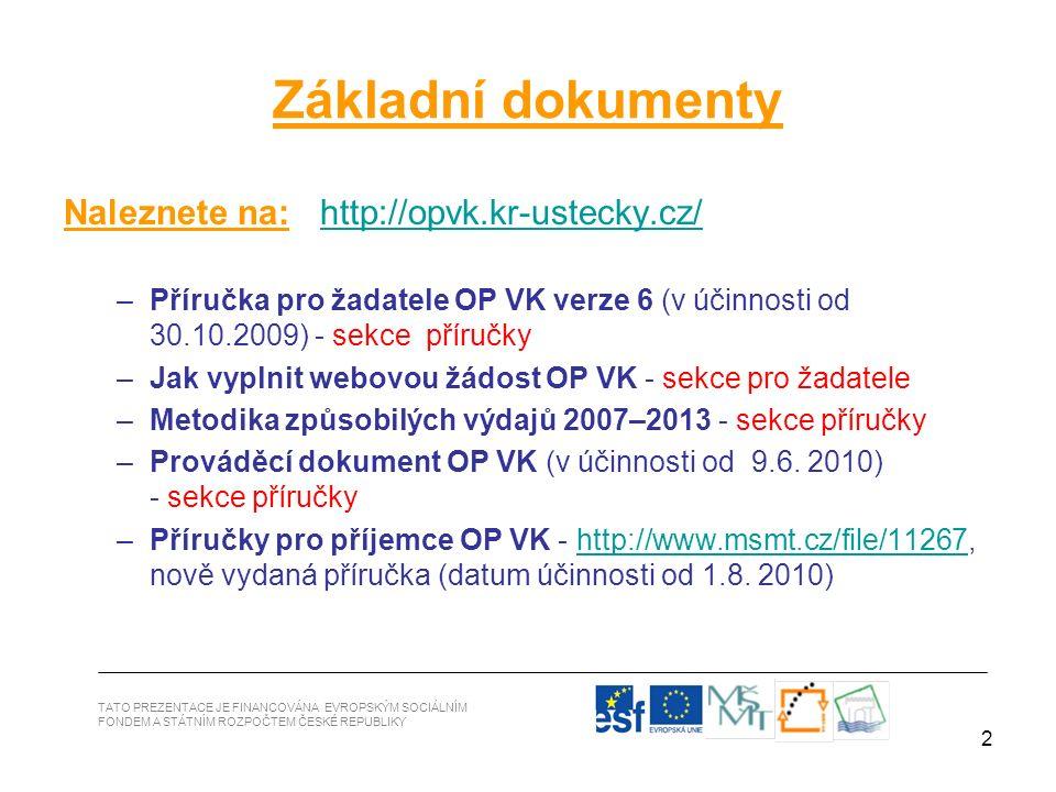2 Základní dokumenty Naleznete na: http://opvk.kr-ustecky.cz/http://opvk.kr-ustecky.cz/ –Příručka pro žadatele OP VK verze 6 (v účinnosti od 30.10.200
