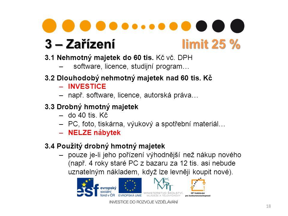 3 – Zařízení limit 25 % 18 3.1 Nehmotný majetek do 60 tis.