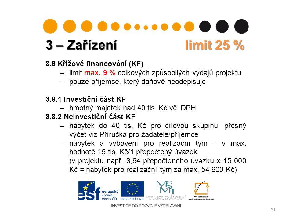 3 – Zařízení limit 25 % 21 3.8 Křížové financování (KF) –limit max.