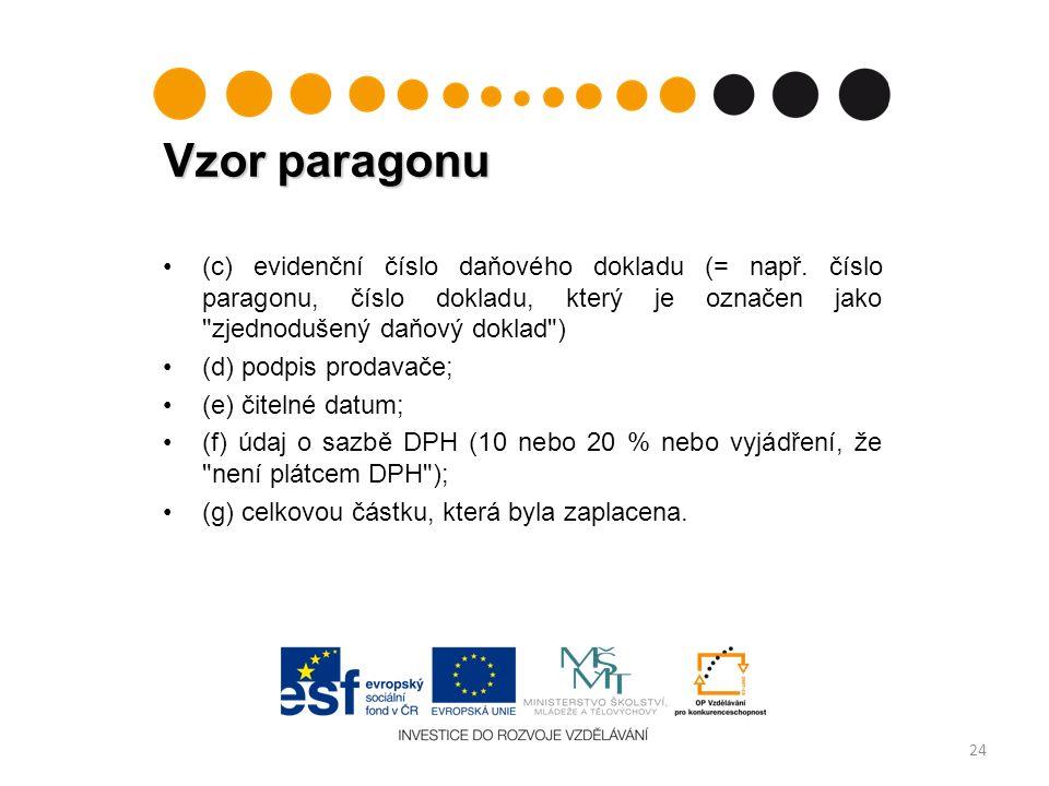 Vzor paragonu 24 (c) evidenční číslo daňového dokladu (= např.