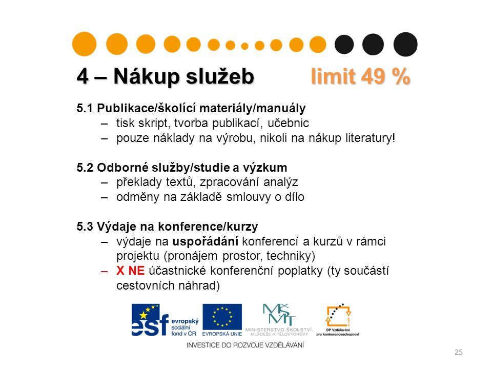 4 – Nákup služeb limit 49 % 25 5.1 Publikace/školící materiály/manuály –tisk skript, tvorba publikací, učebnic –pouze náklady na výrobu, nikoli na nákup literatury.