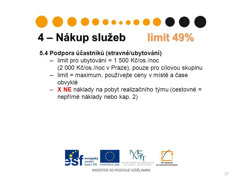 4 – Nákup služeb limit 49% 27 5.4 Podpora účastníků (stravné/ubytování) –limit pro ubytování = 1 500 Kč/os./noc (2 000 Kč/os./noc v Praze), pouze pro cílovou skupinu –limit = maximum, používejte ceny v místě a čase obvyklé –X NE náklady na pobyt realizačního týmu (cestovné = nepřímé náklady nebo kap.