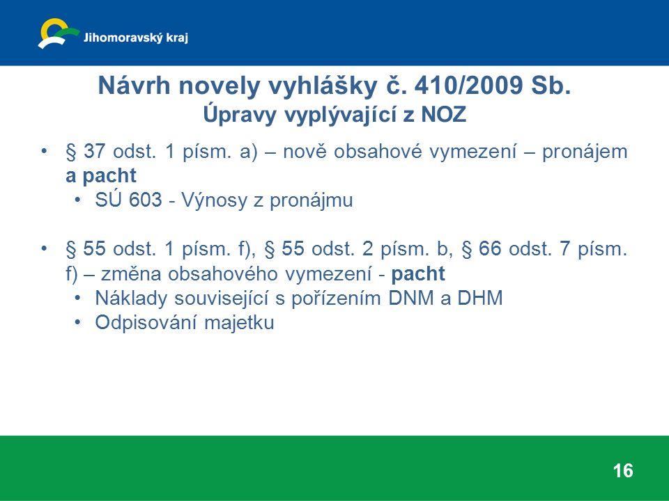 Návrh novely vyhlášky č. 410/2009 Sb. Úpravy vyplývající z NOZ § 37 odst. 1 písm. a) – nově obsahové vymezení – pronájem a pacht SÚ 603 - Výnosy z pro