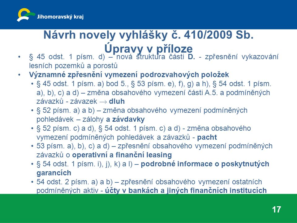 Návrh novely vyhlášky č. 410/2009 Sb. Úpravy v příloze § 45 odst. 1 písm. d) – nová struktura části D. - zpřesnění vykazování lesních pozemků a porost