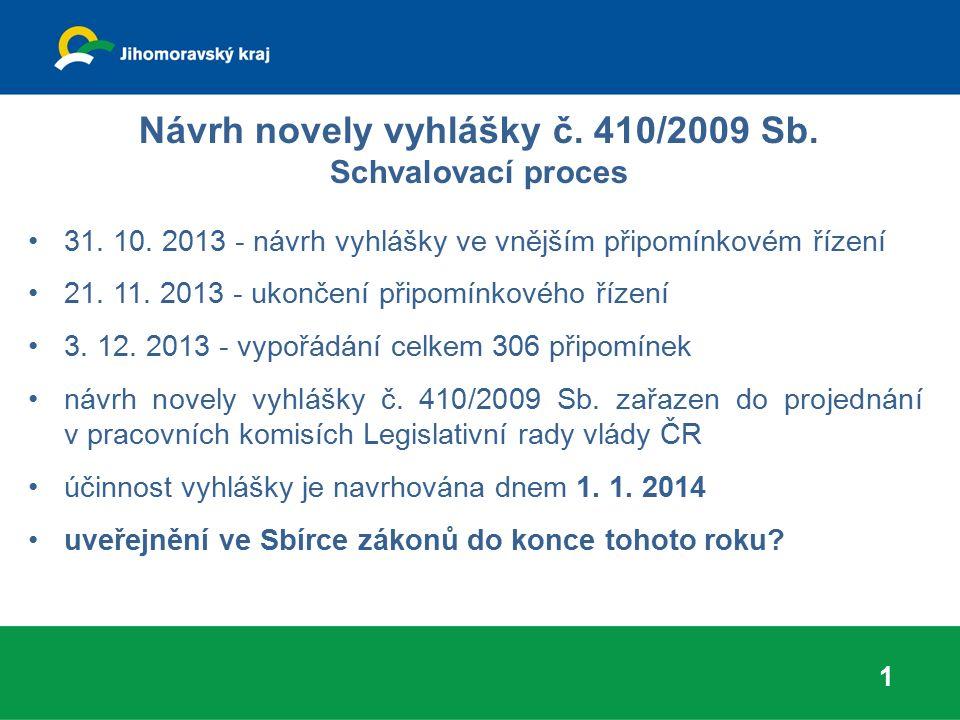 Návrh novely vyhlášky č. 410/2009 Sb. Schvalovací proces 31. 10. 2013 - návrh vyhlášky ve vnějším připomínkovém řízení 21. 11. 2013 - ukončení připomí