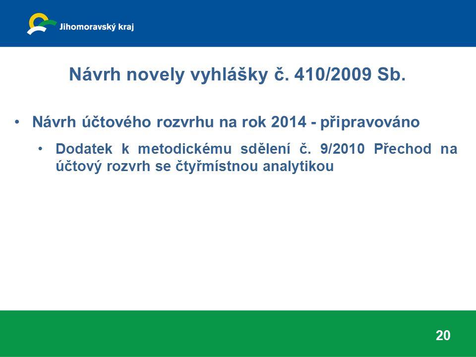 Návrh novely vyhlášky č. 410/2009 Sb. Návrh účtového rozvrhu na rok 2014 - připravováno Dodatek k metodickému sdělení č. 9/2010 Přechod na účtový rozv