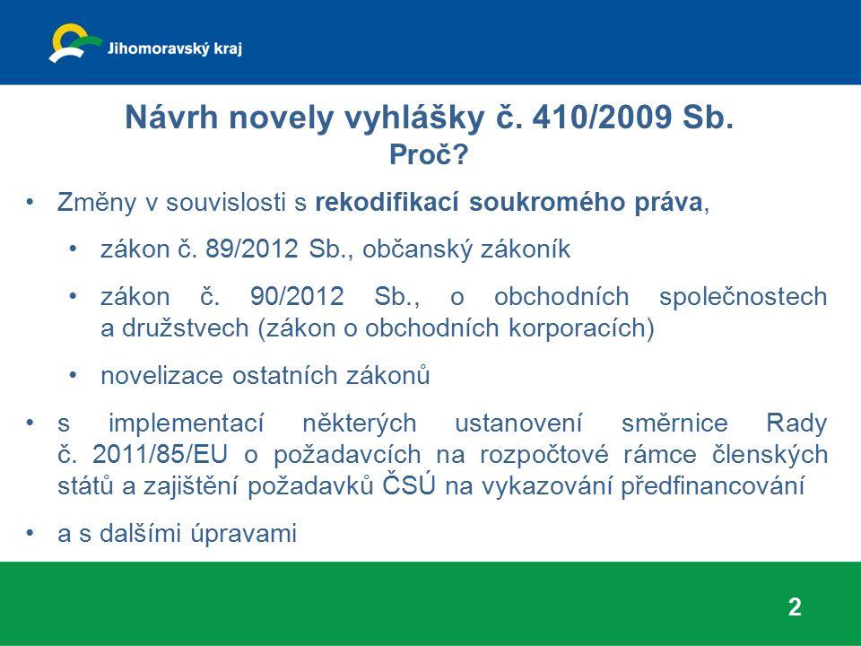 Návrh novely vyhlášky č.410/2009 Sb. Úpravy vyplývající z NOZ § 19 písm.