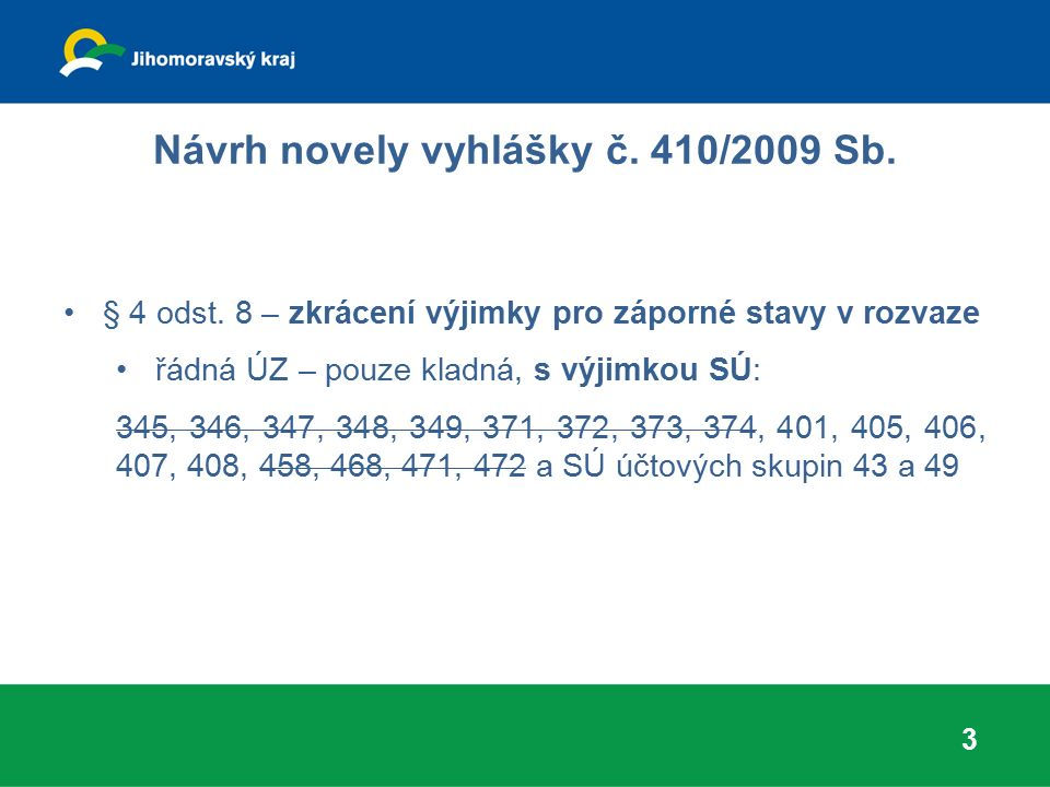 Návrh novely vyhlášky č. 410/2009 Sb. § 4 odst. 8 – zkrácení výjimky pro záporné stavy v rozvaze řádná ÚZ – pouze kladná, s výjimkou SÚ: 345, 346, 347
