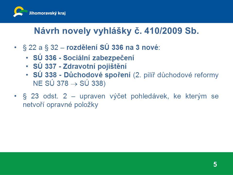 Návrh novely vyhlášky č. 410/2009 Sb. § 22 a § 32 – rozdělení SÚ 336 na 3 nové: SÚ 336 - Sociální zabezpečení SÚ 337 - Zdravotní pojištění SÚ 338 - Dů