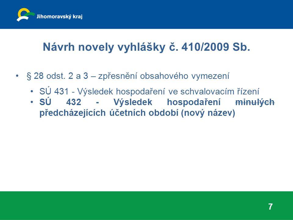 Návrh novely vyhlášky č. 410/2009 Sb. § 28 odst. 2 a 3 – zpřesnění obsahového vymezení SÚ 431 - Výsledek hospodaření ve schvalovacím řízení SÚ 432 - V