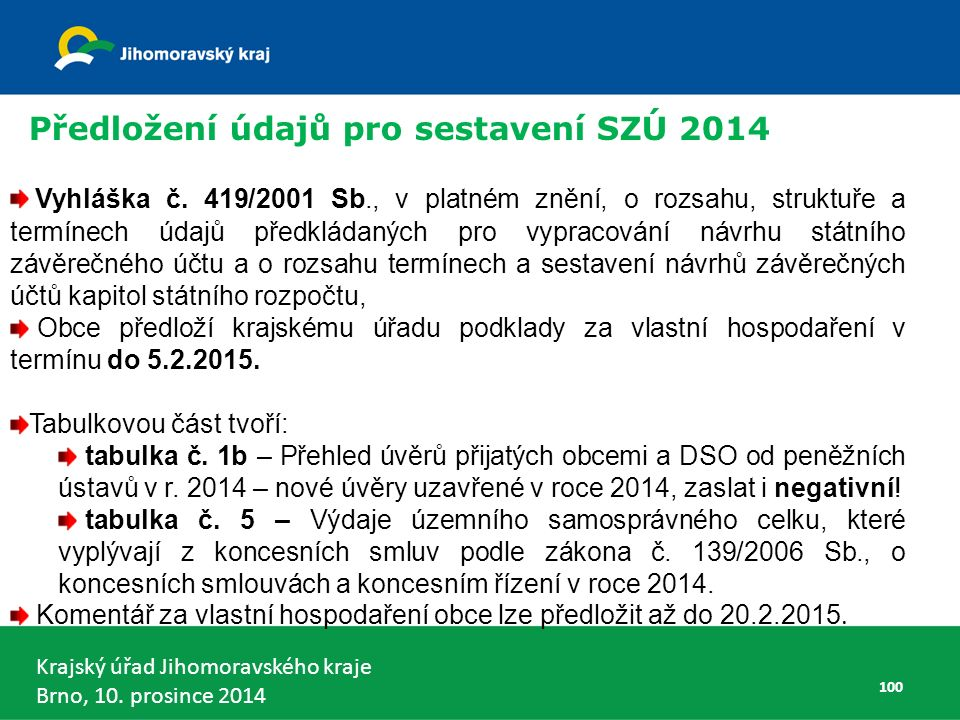 Krajský úřad Jihomoravského kraje Brno, 10. prosince 2014 100 Vyhláška č.