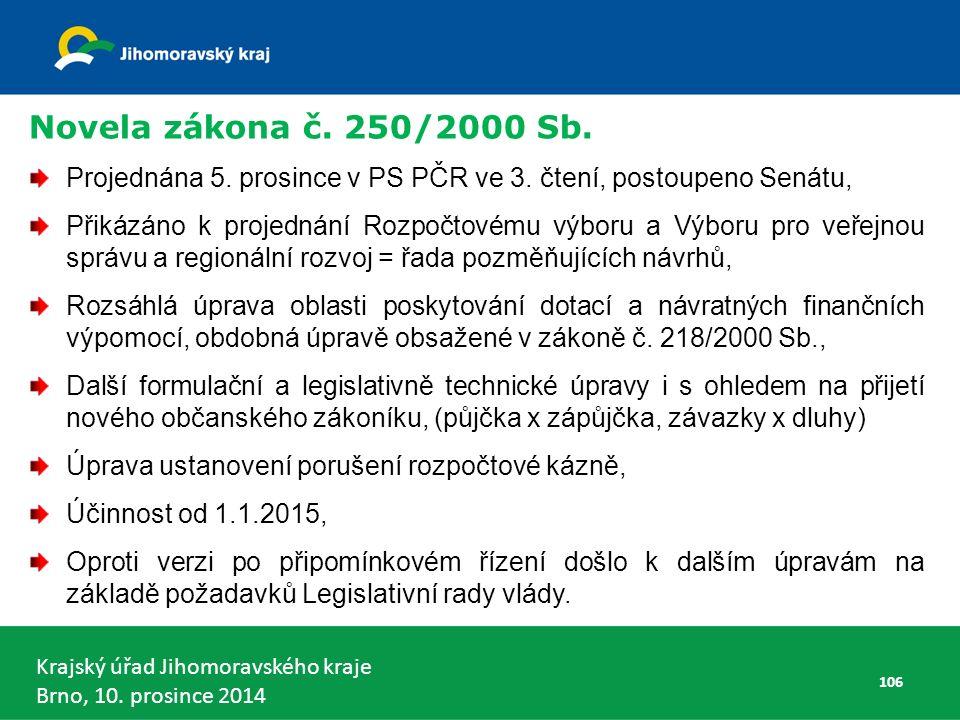 Krajský úřad Jihomoravského kraje Brno, 10. prosince 2014 Novela zákona č.