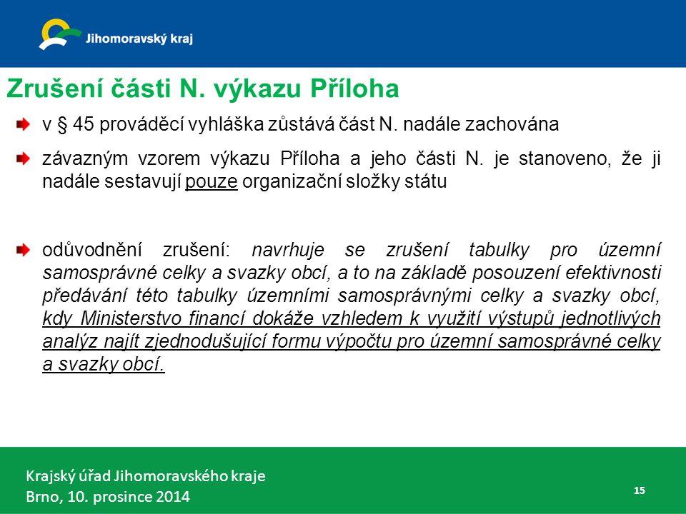 Krajský úřad Jihomoravského kraje Brno, 10. prosince 2014 15 Zrušení části N.