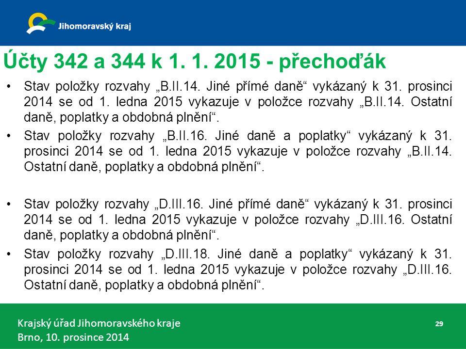 Krajský úřad Jihomoravského kraje Brno, 10. prosince 2014 Účty 342 a 344 k 1.