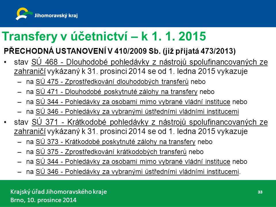 Krajský úřad Jihomoravského kraje Brno, 10.prosince 2014 Transfery v účetnictví – k 1.