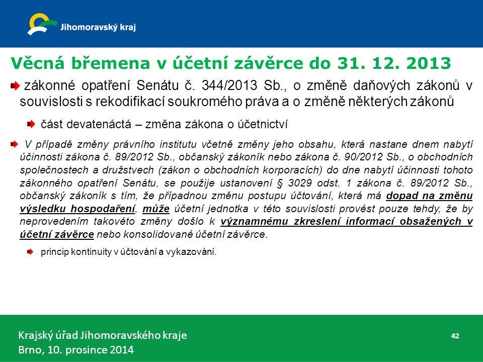 Krajský úřad Jihomoravského kraje Brno, 10. prosince 2014 Věcná břemena v účetní závěrce do 31.