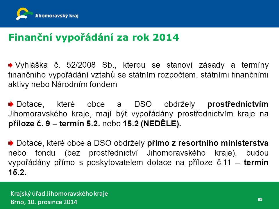 Krajský úřad Jihomoravského kraje Brno, 10.prosince 2014 85 Vyhláška č.