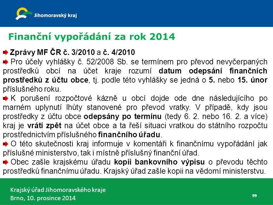 Krajský úřad Jihomoravského kraje Brno, 10. prosince 2014 99 Zprávy MF ČR č.