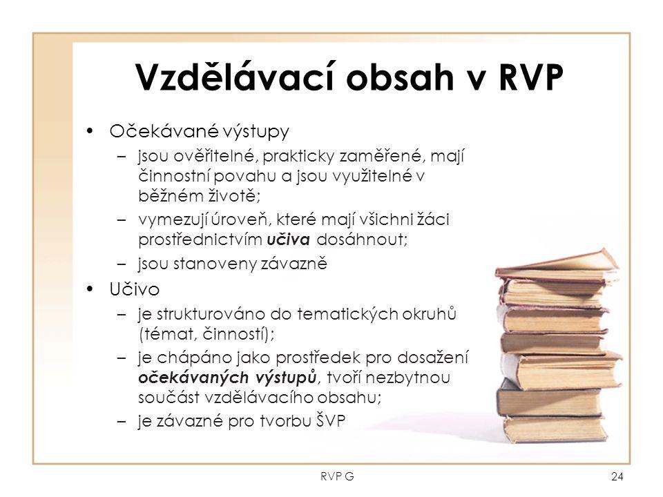 RVP G24 Vzdělávací obsah v RVP Očekávané výstupy –jsou ověřitelné, prakticky zaměřené, mají činnostní povahu a jsou využitelné v běžném životě; –vymezují úroveň, které mají všichni žáci prostřednictvím učiva dosáhnout; –jsou stanoveny závazně Učivo –je strukturováno do tematických okruhů (témat, činností); –je chápáno jako prostředek pro dosažení očekávaných výstupů, tvoří nezbytnou součást vzdělávacího obsahu; –je závazné pro tvorbu ŠVP