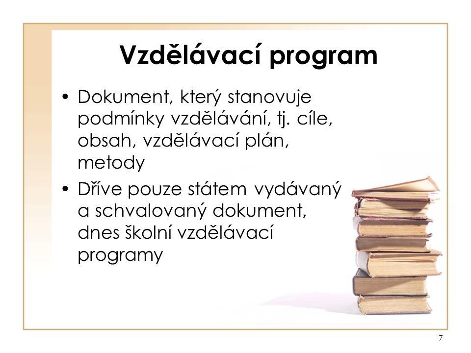 7 Vzdělávací program Dokument, který stanovuje podmínky vzdělávání, tj.