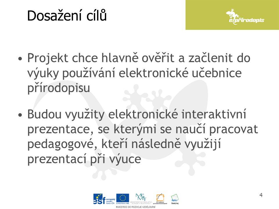 Dosažení cílů Projekt chce hlavně ověřit a začlenit do výuky používání elektronické učebnice přírodopisu Budou využity elektronické interaktivní preze