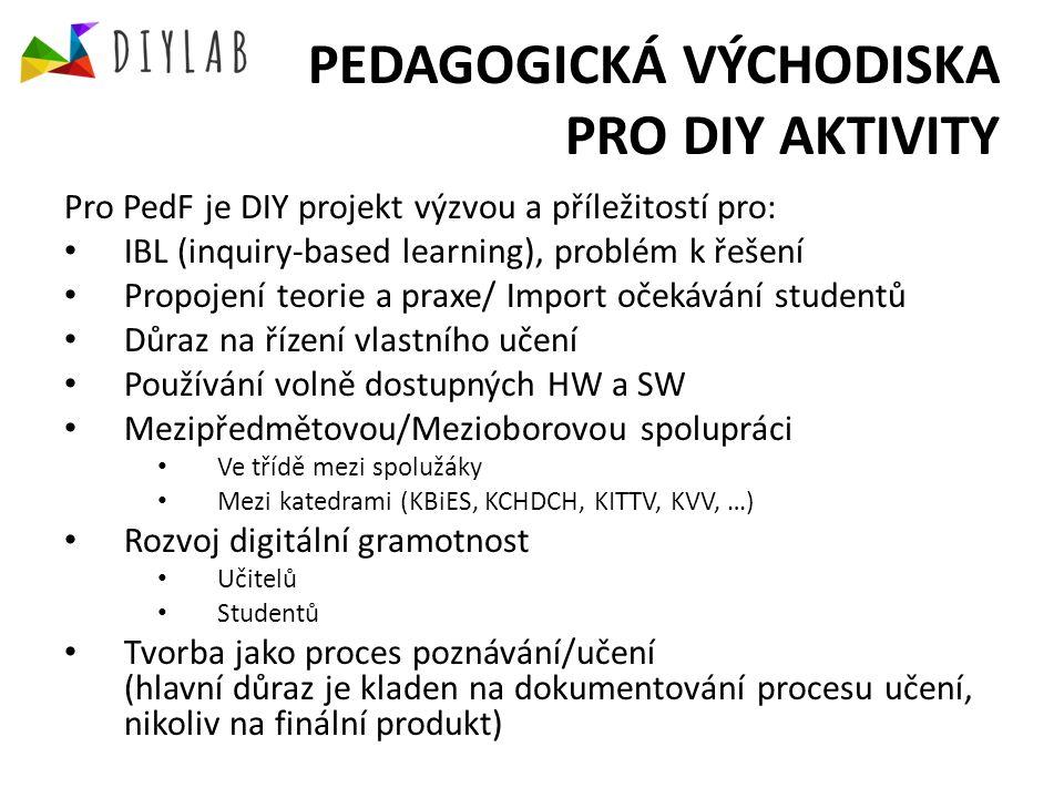 PEDAGOGICKÁ VÝCHODISKA PRO DIY AKTIVITY Pro PedF je DIY projekt výzvou a příležitostí pro: IBL (inquiry-based learning), problém k řešení Propojení teorie a praxe/ Import očekávání studentů Důraz na řízení vlastního učení Používání volně dostupných HW a SW Mezipředmětovou/Mezioborovou spolupráci Ve třídě mezi spolužáky Mezi katedrami (KBiES, KCHDCH, KITTV, KVV, …) Rozvoj digitální gramotnost Učitelů Studentů Tvorba jako proces poznávání/učení (hlavní důraz je kladen na dokumentování procesu učení, nikoliv na finální produkt)