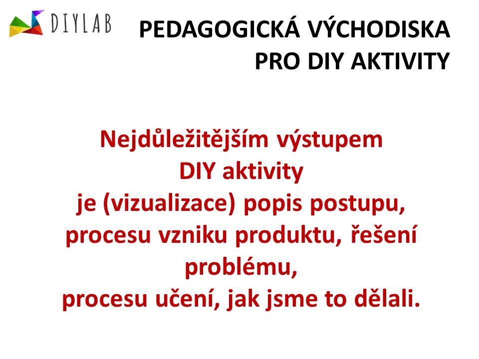 PEDAGOGICKÁ VÝCHODISKA PRO DIY AKTIVITY Nejdůležitějším výstupem DIY aktivity je (vizualizace) popis postupu, procesu vzniku produktu, řešení problému, procesu učení, jak jsme to dělali.