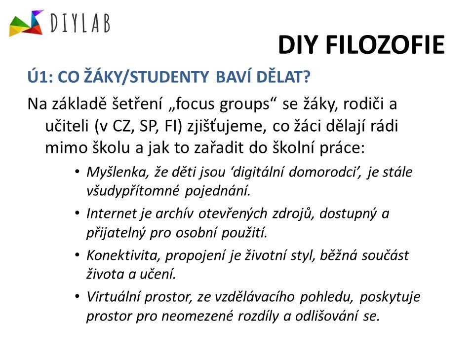 DIY FILOZOFIE Ú1: CO ŽÁKY/STUDENTY BAVÍ DĚLAT.