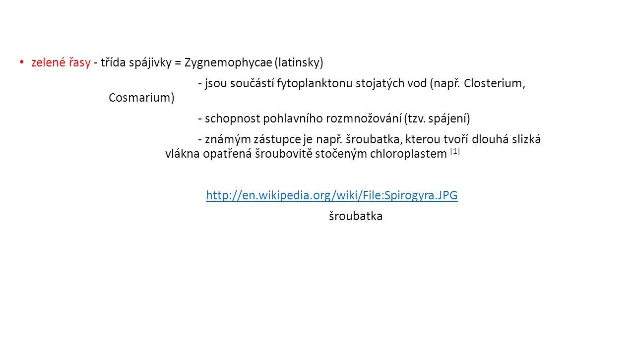 zelené řasy - třída spájivky = Zygnemophycae (latinsky) - jsou součástí fytoplanktonu stojatých vod (např.