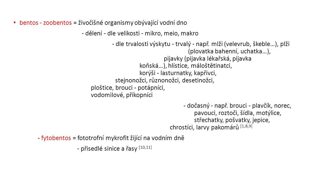 bentos - zoobentos = živočišné organismy obývající vodní dno - dělení - dle velikosti - mikro, meio, makro - dle trvalosti výskytu - trvalý - např.