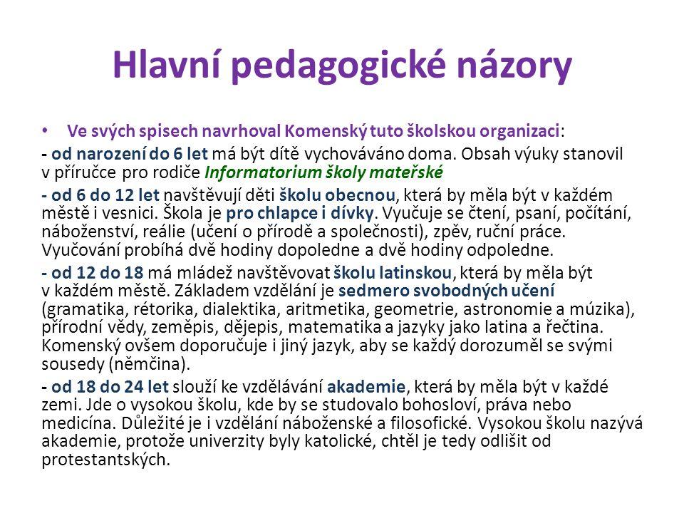 Hlavní pedagogické názory Ve svých spisech navrhoval Komenský tuto školskou organizaci: - od narození do 6 let má být dítě vychováváno doma.