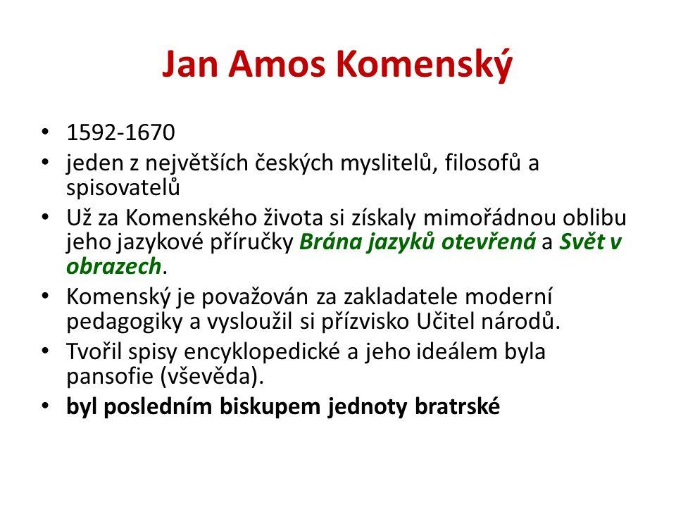 Jan Amos Komenský 1592-1670 jeden z největších českých myslitelů, filosofů a spisovatelů Už za Komenského života si získaly mimořádnou oblibu jeho jazykové příručky Brána jazyků otevřená a Svět v obrazech.