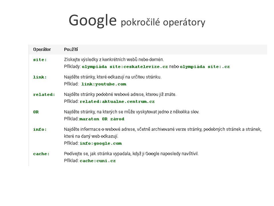 Google pokročilé operátory